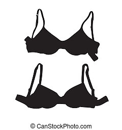 a pair of black silhouettes of bra in white background