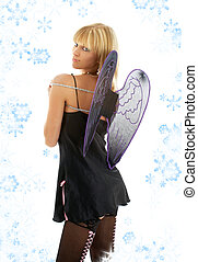black lingerie angel blond with snowflakes - picture of...