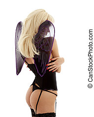 black lingerie angel - picture of angel in black lingerie...