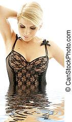 black lingerie blonde in water #2