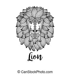 Black lion head with floral pattern