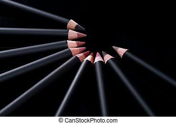 Lip Liner Pencils on Black Background
