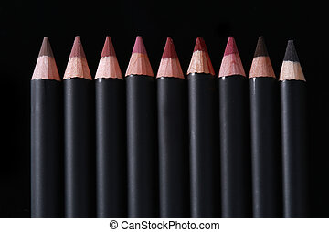 Lip Liner Pencils on Black Background - Black Lip Liner...