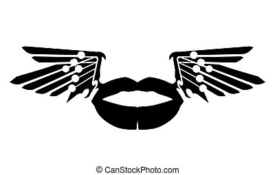 Black lips silhouette with wings. Lip illustration vector ...