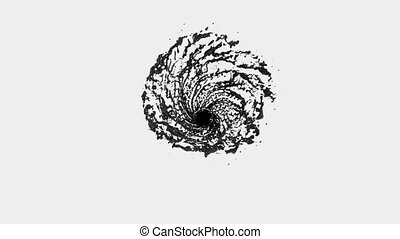 Black Liquid like black oil tornado. Beautiful colored paint whirl. Isolated transparent vortex of liquid like whirlwind 3d animation with alpha matte. Version 5.