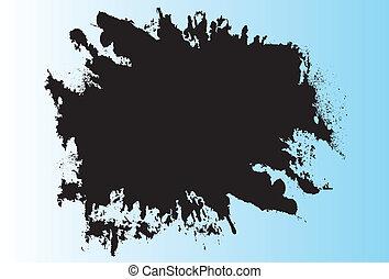 Black liquid splatter on blue