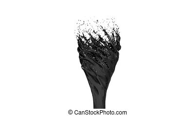 Black Liquid tornado on white background. Beautiful colored paint like black oil is whirling. Isolated transparent vortex of liquid like car paint, 3d animation with alpha matte. Version 5