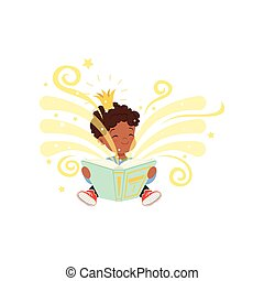 Black little boy sitting on floor and reading magic book with fantasy stories. Cartoon kid character with golden crown on head. Children imagination. Flat vector