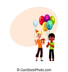 Black little boy with balloons, Caucasian teenager holding birthday gift