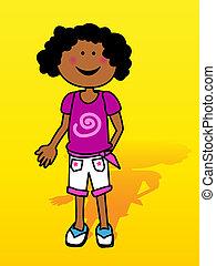Black little girl over yellow