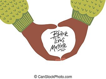 Black lives matter. Afro Hands holding lettering quote. Vector flat hand drawn illustration.