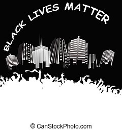 Monochrome International human rights movement Black Lives Matter with crowd peacefully demonstrating in a city with copy space for own text