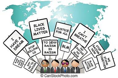Black Lives Matter demonstration on world map - ...