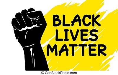 Black lives matter design of silhouette fist vector ...