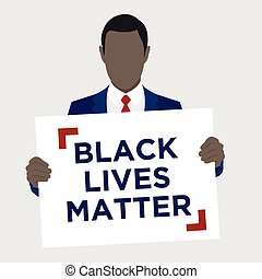 Black Lives Matter Illustration with African American Male...