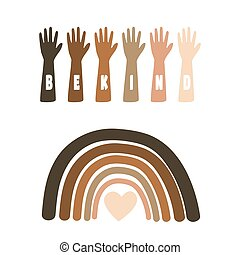 Black Lives Matter Illustration with raising hands and rainbow equality symbol.