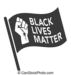Black Lives Matter Illustration with Strong Fist and Flag
