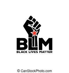 Black lives matter modern logo, banner, design concept, sign, with black on a flat  background.