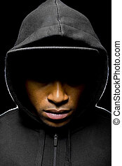 Black Lives Matter - Portrait of a hooded black man tired of...