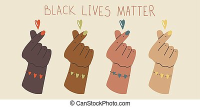 Black Lives Matter. Human hand. Fist raised up. Protest Banner about Human Right. Flat cartoon vector illustration, hand drawn style.