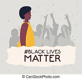black lives matter, young woman african with silhouette of protesting people, stop racism concept