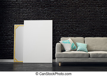Black living room with empty poster