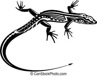 Black lizard with natural decorative ornament