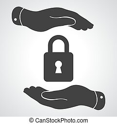 Black lock icon in flat hands isolated on grey background-...