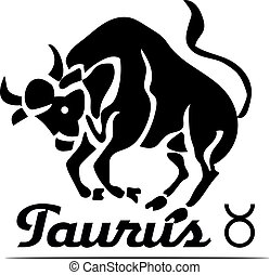 Black logo-icon for site, zodiac sign TAURUS, bull on white background,