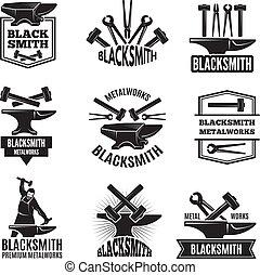 Black logos for blacksmith. Vintage labels set