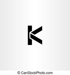 Black Icon Line Letter K Logo Vector Design