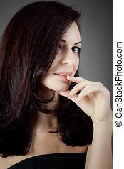 Black Long Curly Wild Hair. Fashion Woman Portrait.