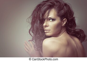 Black Long Curly Wild  Hair. Fashion Woman Portrait.
