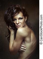 Black Long Curly Wild Hair. Sensual woman Portrait.
