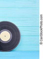 Black long play vinyl record.