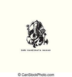 black lord ganesh vector illustration.