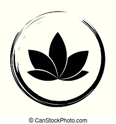 black lotus icon in a circle isolated on white background