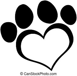 Black Love Paw Print Cartoon Character