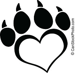 Black Love Paw Print With Claws Cartoon Character