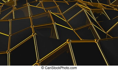 Black Low Poly Abstract Background. Seamless loop
