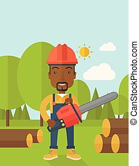 A black Lumberjack with hard hat as protection cuts a tree by chainsaw under the heat of the sun. A Contemporary style with pastel palette, soft blue tinted background with desaturated clouds. Vector flat design illustration. Vertical layout with text space on top part.