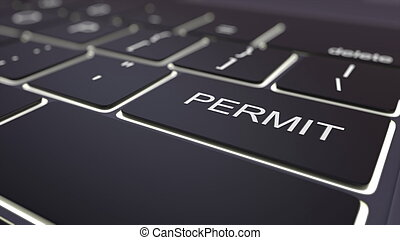 Black luminous computer keyboard and permit key. Conceptual 3D rendering