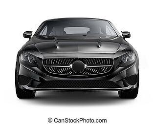 Black luxury coupe car on white background