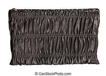 black luxury female handbag isolated on white background