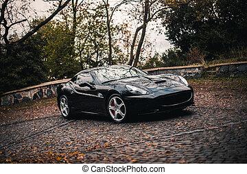 Black luxury sport car on the parking area