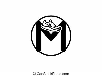 Black M initial letter with shoes in circle design