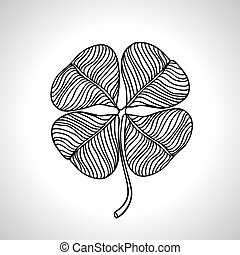 Black macro clover leaf natural isolated. Vector illustration