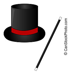black magic hat and magic wand - black magic hat with red...
