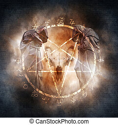 Black Magic Ritual - Two hooded figures and a demonic ram...