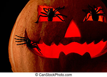 Black magic - Image of Halloween pumpkin with red backlight...